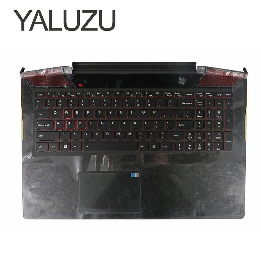 YALUZU new Palmrest topcase for Lenovo for IdeaPad Y700 Y700-15 Y700-15ISK Upper cover TOUCHPAD US KEYBOARD BACKLIT AP0ZF000300 by511 nm a541 laptop motherboard for lenovo lenovo ideapad y700 15isk y700 15isk 15 6 sr2fq i7 6700hq cpu gtx 960m main board