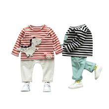 2pcs Boys Clothing Sets 2017 Autumn cotton Long-Sleeve Striped T-shirt+ Long Pants Cartoon Dinosaur Baby Kids units