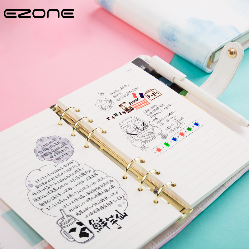 EZONE Leather Floral Flower Notebook Planner Dairy Spiral Notepad Pockets Note Books Travel Journal Hard Cover Pink Stationery sosw fashion anime theme death note cosplay notebook new school large writing journal 20 5cm 14 5cm