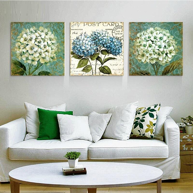 Pi nuovo bello ortensia pittura murale frameless for Pittura moderna soggiorno