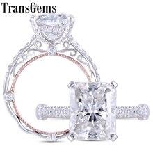 Transgems 14 k branco e rosa ouro centro 5ct 9*11mm radiante corte f cor moissanite anel de noivado para presentes de aniversário feminino