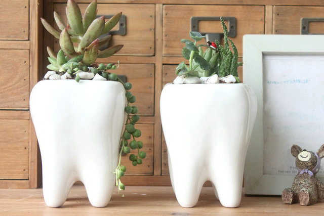 Weiß keramik blumentopf, Nette zahnform design in Weiß keramik ...