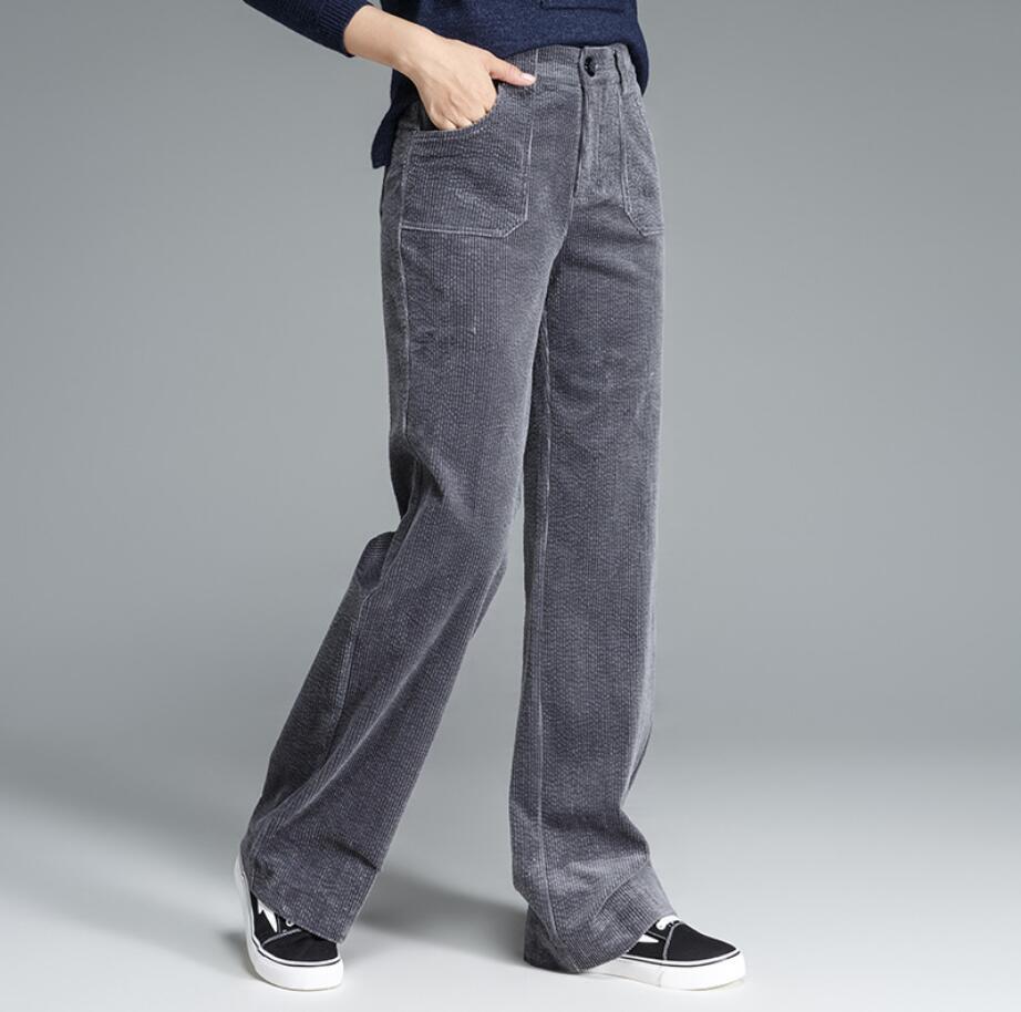 69c58e27d9e Women Corduroy Pants 2018 Autumn Winter High Waist Long Trousers loose  Casual wide leg Pants female