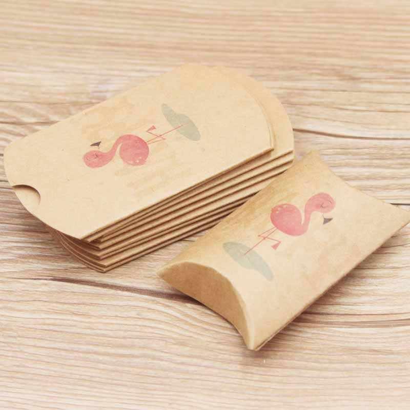 10 pçs nova caixa de presente de doces casamento festa de aniversário embalagem de convidados caixas de travesseiro de papel diy caixa de travesseiro crianças flamingo decoração suprimentos