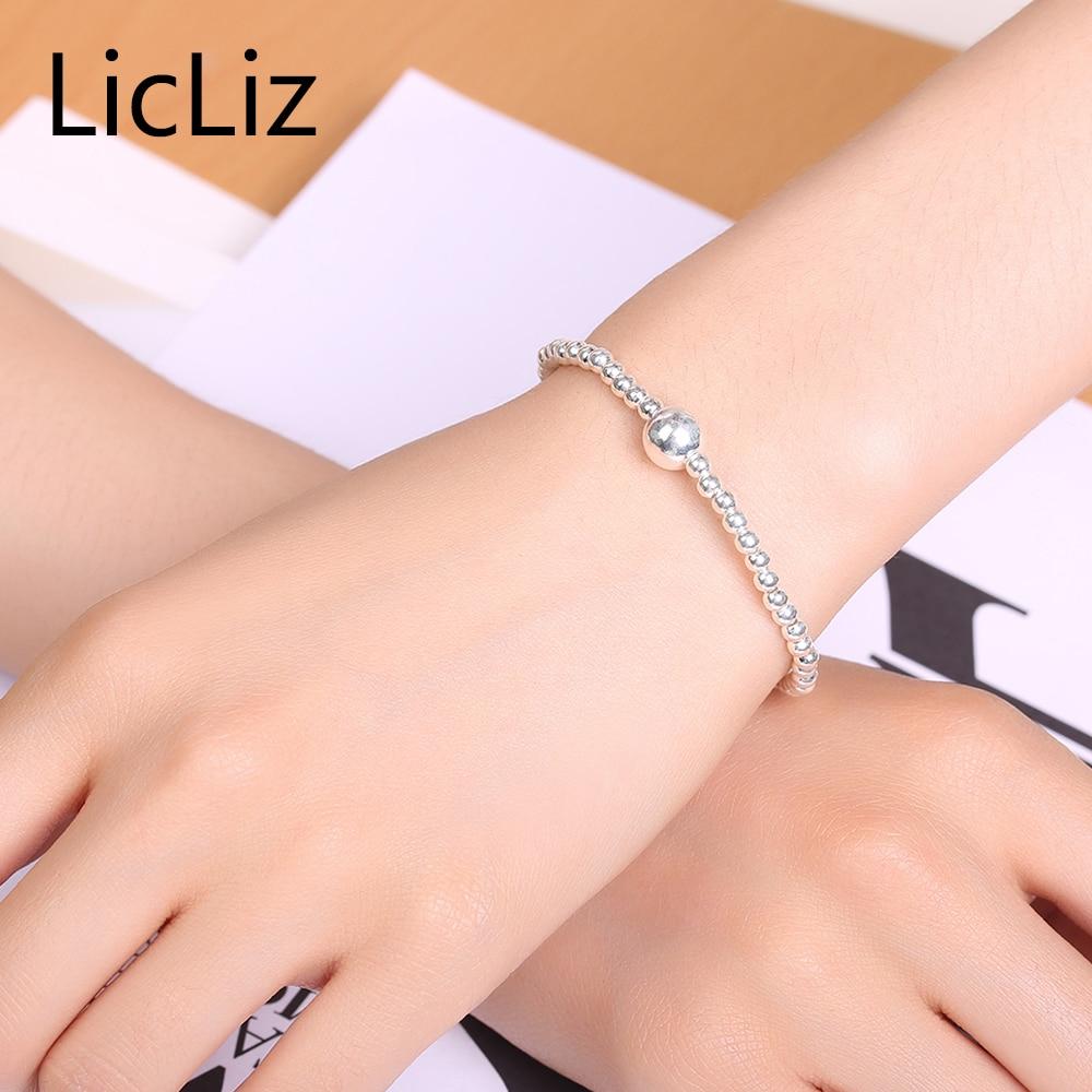 LicLiz Pure Silver Adjustable Bracelet Beads Strand Bracelets Bangles Charms Ball 925 Sterling Heart Bracelet Elastic LB0081