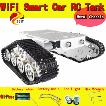DOIT RC Aluminum Alloy Tank Chassis Wall-e Caterpillar Tractor Crawler Intelligent Robot Car Barrowload UNO Obstacle