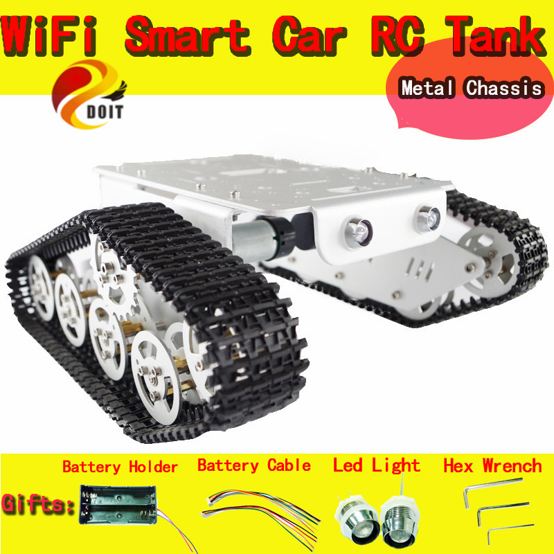Official DOIT RC Aluminum Alloy Tank Chassis Wall-e Caterpillar Tractor Crawler Intelligent Robot Car Barrowload UNO Obstacle official doit rc metal tank chassis wall caterpillar tractor robot wall e crawler wall brrow land car diy rc toy remote control