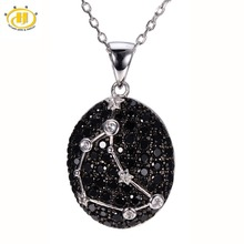Capricornus Black Spinel & White Topaz Pendant Solid 925 Sterling Silver Necklace Sign Fine Jewelry Birthday Gift