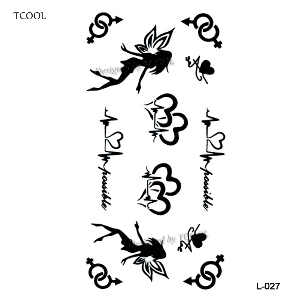 HXMAN English Letter Waterproof Temporary Tattoos Sticker Women Men Arm Fake Body Art 10.5X6cm Kids Adult Hand Tattoo L-027
