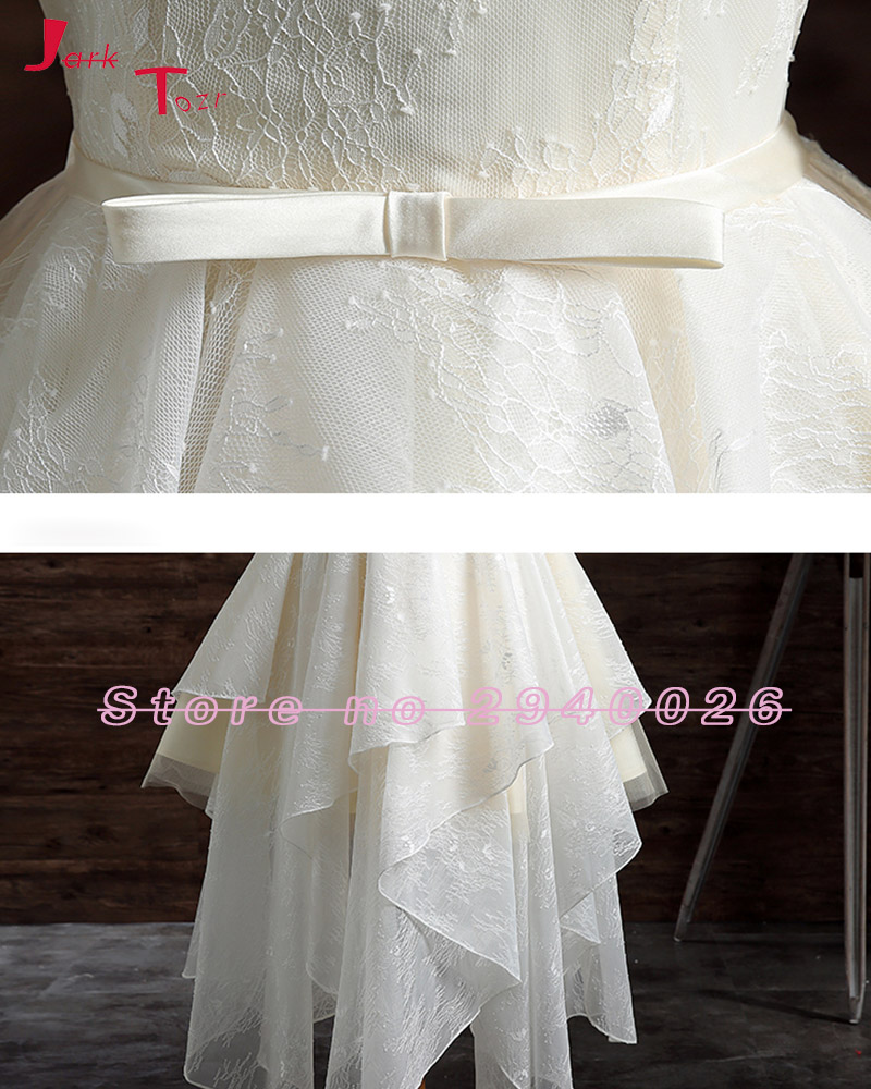 Jark Tozr Real Photo Long Sleeve Backless Tea Length Bow Bridal ...