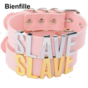 Image 5 - Fashion Gold Men Necklace Women Girl  Slave Name Word  Collar Buckle Necklace Black PU Leather Kawaii Jewelry
