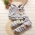 2016 Autumn and winter kid boys and girls children cotton cartoon clothing suit children plus velvet thickening two piece set