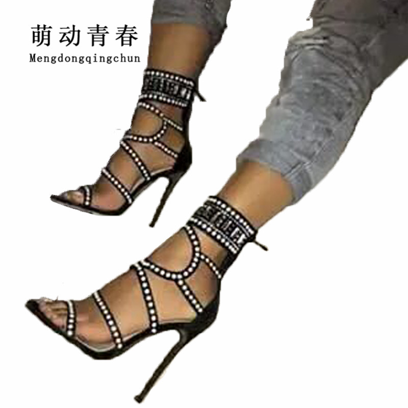Hot Sale Women Pumps 2018 Fashion Women Crystal Rhinestone Hollow High Heels Sandals Gladiator Women Peep Toe Summer High Heels hot sale 2018 new fashion wedge gladiator platform sandals women flower rhinestone summer pumps crystal wedding high heels shoes
