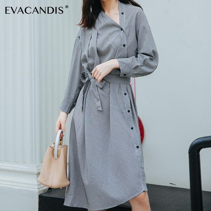 Long Sleeve Grey Striped Irregular Midi Shirt Dress Elegant Korean Plus Size Tunic Belt V Neck Office Autumn Dress Women Vestido