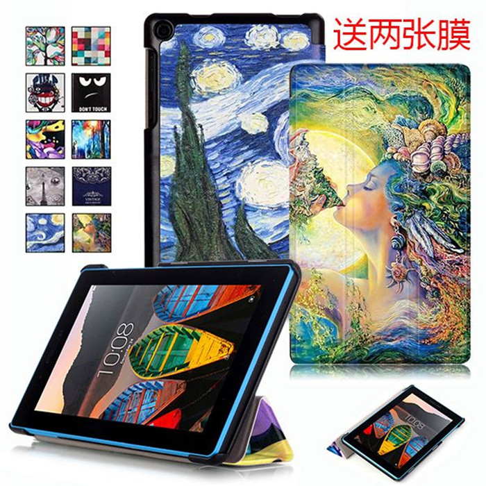 Strong Tablet Cover Case for Lenovo TAB3 7 730 730F 730M TB-730M TB3-730M (Tab 3 7) 7.0 inch + 2Pcs Screen Protector Gift slim fit stand feature folio flip pu hybrid print case for lenovo tab 3 730f 730m 730x 7 inch