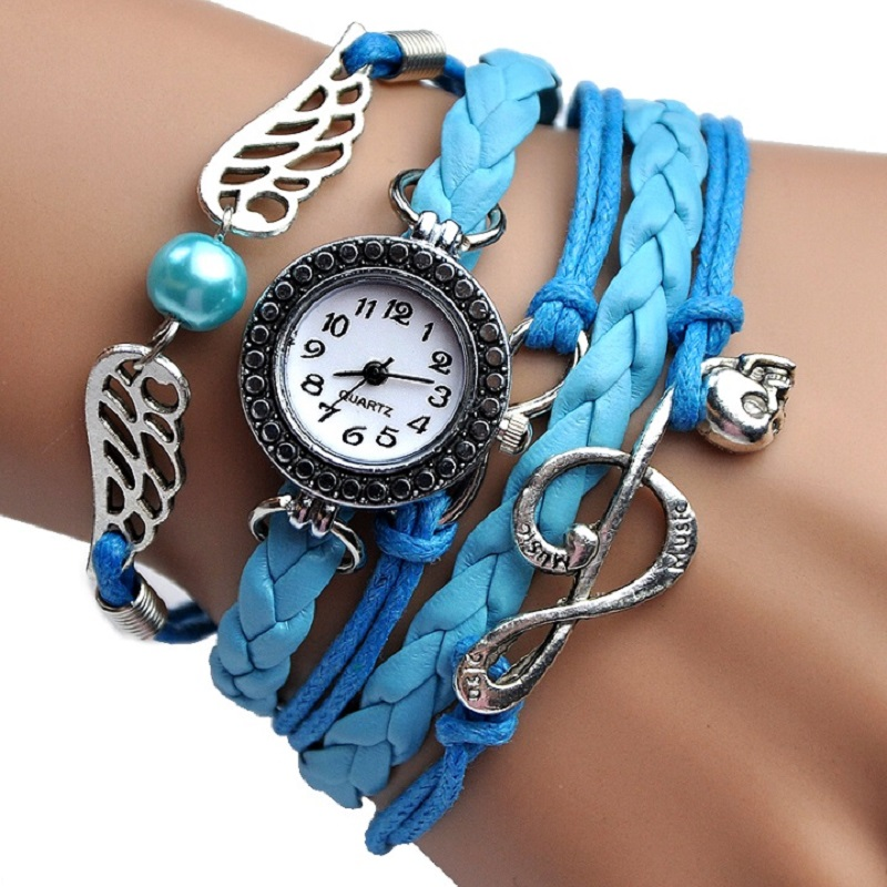 NEW fashion Angel Wings MUSIC Bracelet Watch women Parcords PU leather shammy Gift rhinestone wristwatch Geneva Style rhinestone angel wings heart bracelet