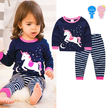 Spring Autumn cotton baby girls pajama 2pcs set kids nightwear children home clothing sleepwear unicorn print striped 2 to 7 yrs