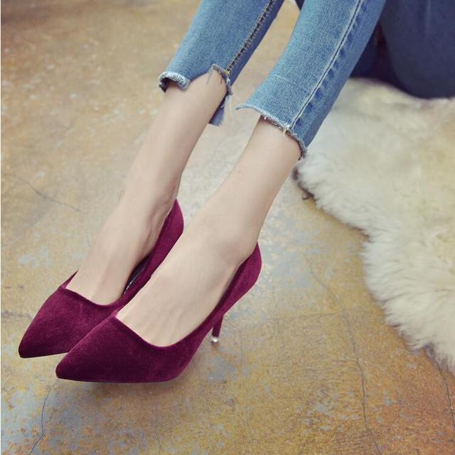 SLHJC 2017 Spring Velvet High-Heeled Shoes Pointed Toe Thin Heels Elegance 6 CM Women Fashion Pumps All Match Shoes