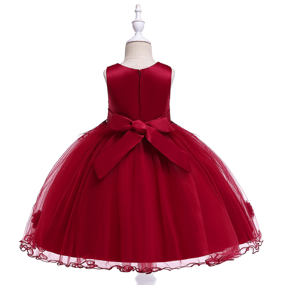 A-Line Lace Appliques  Flower Girl Dresses for Wedding  Dark Red  First Communion Dresses Flower Evening Party Dresses