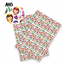 AHB Synthetic Leather Fabric Swan Mermaid Printed Faux Back to School DIY Knotbow Crafts Materials