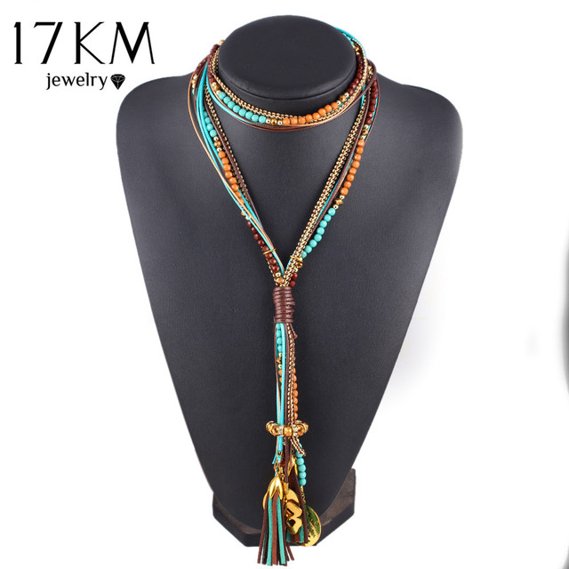 17KM Maxi colar Facet Beads Necklaces For Women Fashion Multi layer Long Necklac