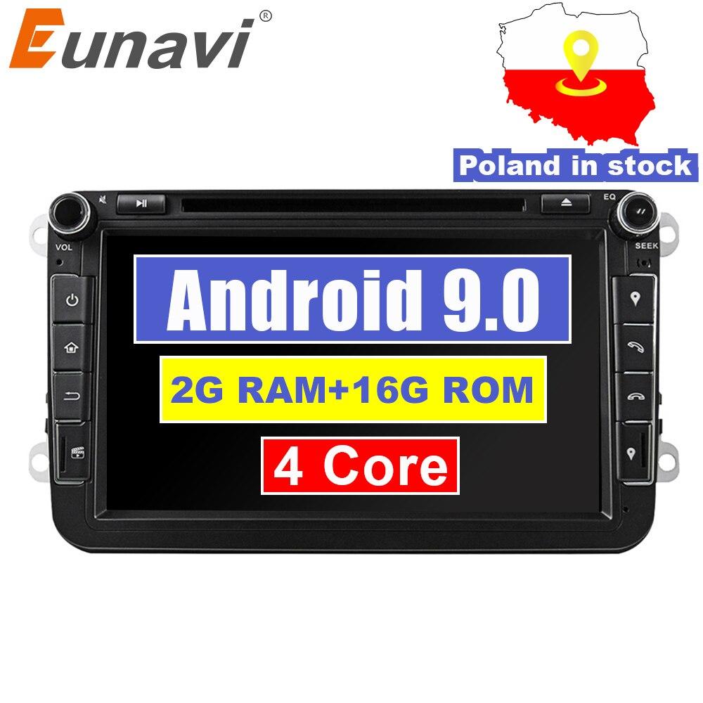 Eunavi 8 ''2 Din Android 9.0 lecteur DVD de voiture GPS Navigation Radio pour VW JETTA Tiguan Passat B6 Touran Caddy Amarok Golf EOS
