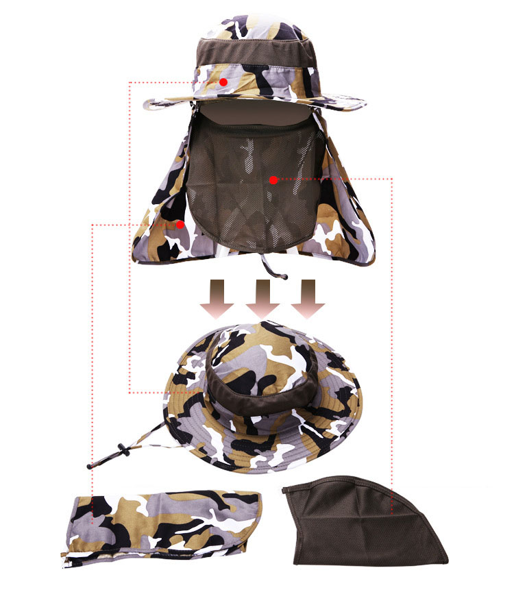 [AETRENDS] 17 New Detachable Camouflage Bucket Hat Neck Protection Summer Cap Windproof Anti-mosquito Fishing Hats Z-5160 3