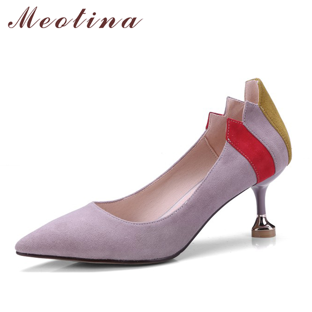 Meotina Genuine Leather Women Pumps High Heels Pointed Toe Kitten Heels Shoes Kid Suede Female Pumps Elegant Footwear Size 33-41 meotina genuine leather women shoes female plaid party shoes block heel bow strap high heels kid suede ladies pumps 2018 spring