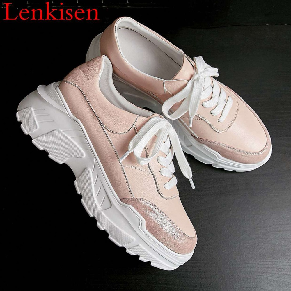 2019 pretty girls natural leather thick high bottom platform round toe lace up sneakers comfortable woman