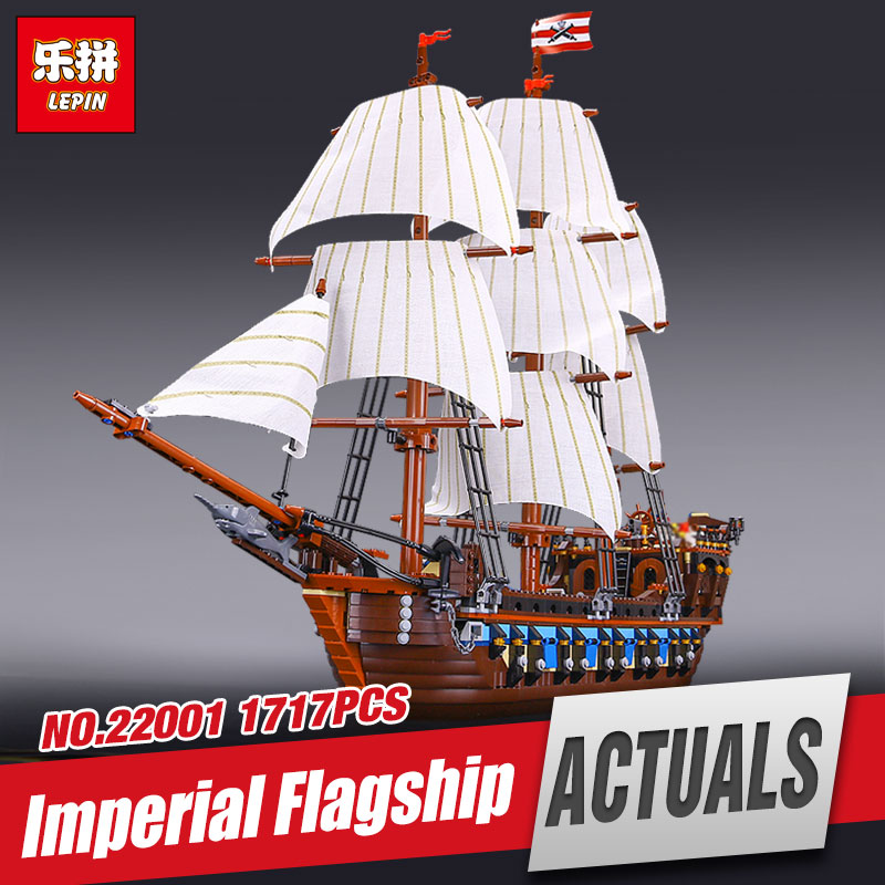NEW LEPIN 22001 Pirate Ship Imperial warships Model Building Kits Block Briks Funny Toys Gift 1717pcs Compatible 10210 lepin 22001 imperial warships 16006 black pearl ship model building blocks for children pirates series toys clone 10210 4184