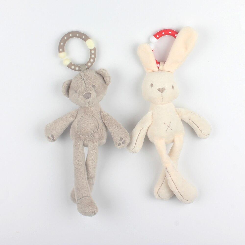 Детские мягкие плюшевые кролика и медведя коляска кукла погремушка Дети мобильный висит кровать колокол малыша автомобиль коляска новорожденного милый Игрушечные лошадки