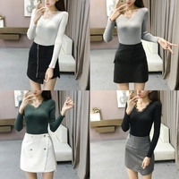 KLV Women Autumn Long Sleeve V Neck Lace Neckline Sweater Tight Knit Shirt Pullover