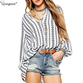 TANGNEST Boho Style Striped Lanter Sleeve Blouse 2017 Fashion Vintage Bow Tie Casual Shirts Ladies Plus Size Loose Tops WCL1376