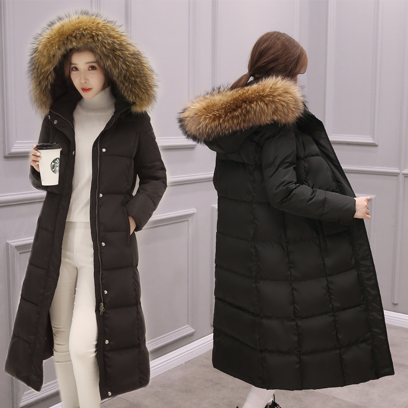 New Fashion Women Winter Duck   Down     Coat   Big Real Fur Hooded Maxi Long Thick Parka Over-the-knee Black Grey Plus Size XXL 2XL