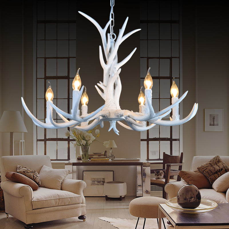 6 heads nordic american country antler chandelier retro resin deer 6 heads nordic american country antler chandelier retro resin deer horn chandelier lighting restaurant lustres home light modern in chandeliers from lights mozeypictures Gallery