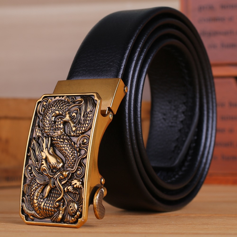 microfiber black leather strap mens belts luxury gold dragon automatic buckle long big plus size 170 cm 180 160 Chinese stylish
