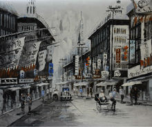 Hand Painted Canvas Knife Abstract Oil Painting  White and Black Shanghai Trams Street Painting Wall Picture for Living Room