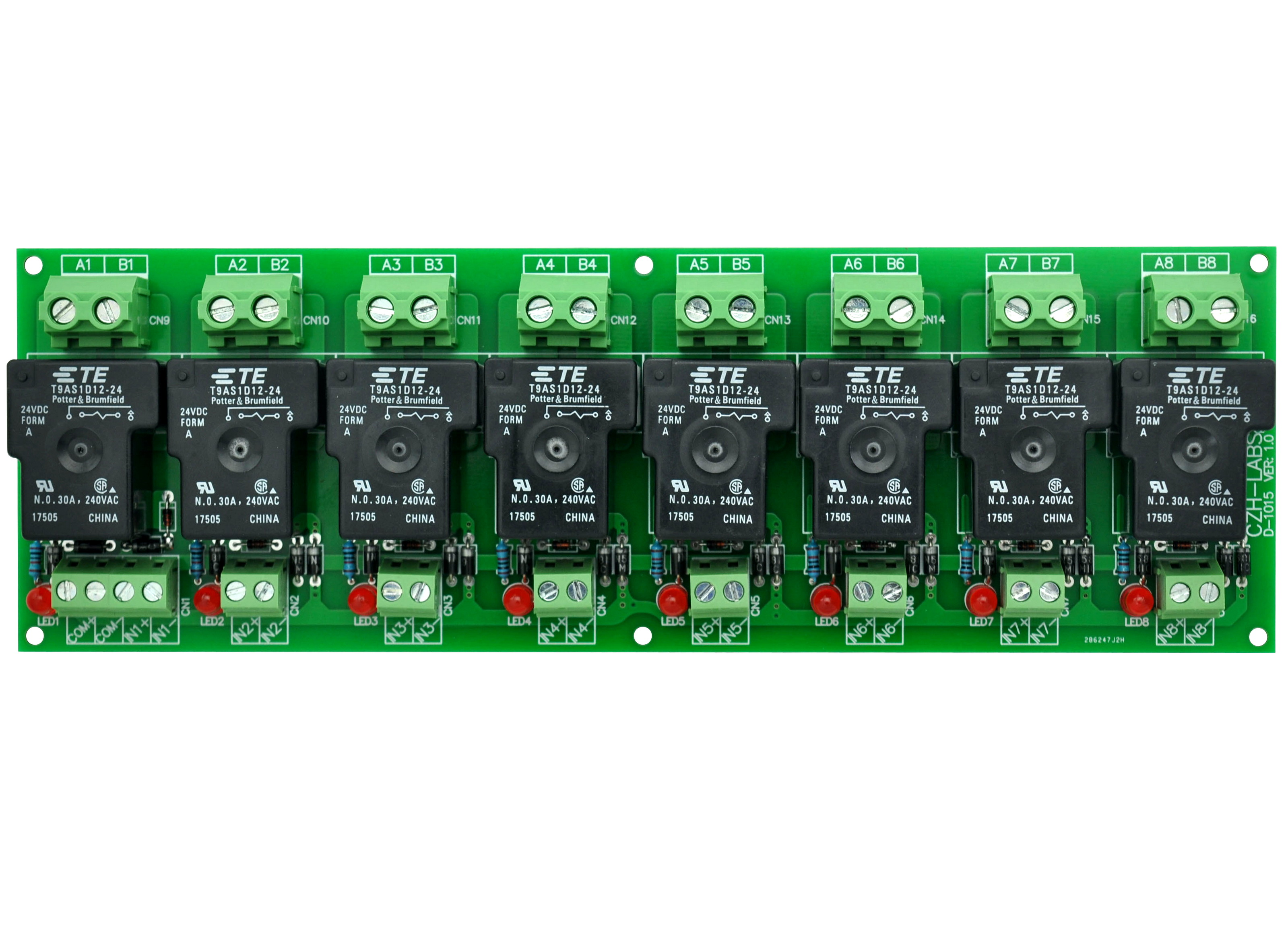 CZH-Labs 24V Passive 8 SPST-NO 30Amp Power Relay Module Board.