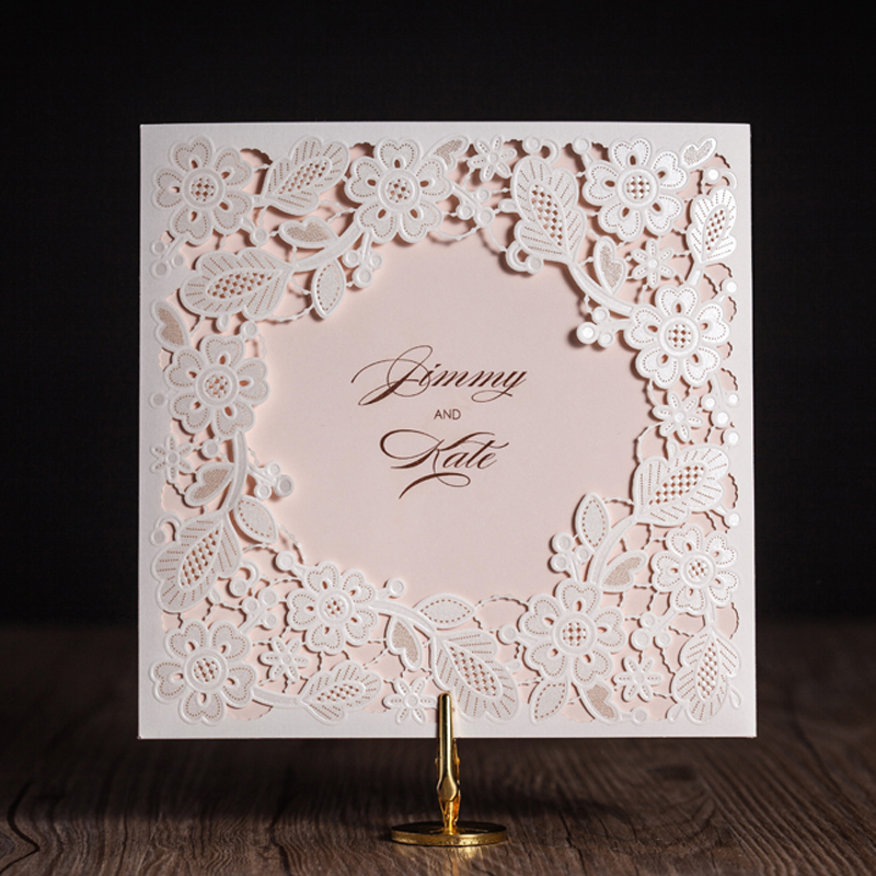 100pcs Lace Ivory Horizontal Laser Cut Wedding Invitation Cards with