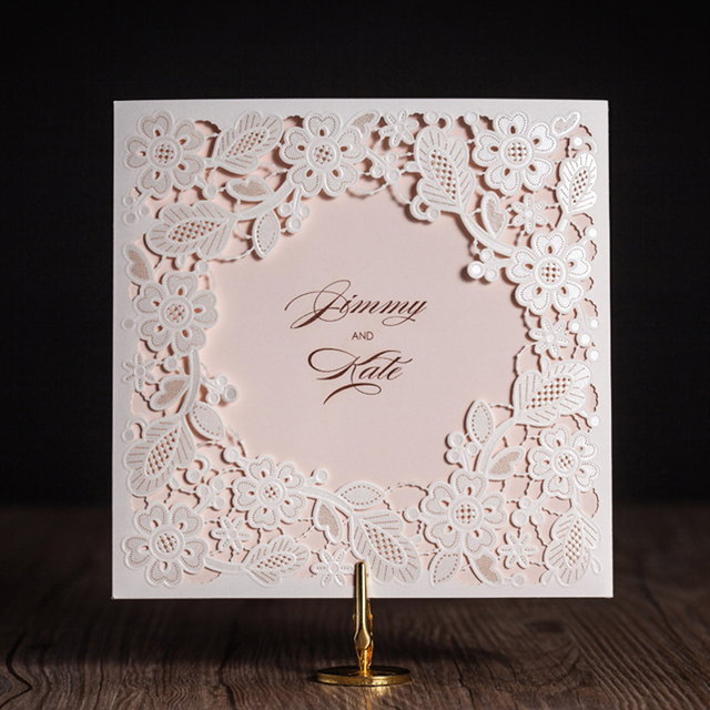 100pcs Lot Laser Cut Wedding Invitations Cards Elegant Flowers Free Printing Birthday Party Invitation Card