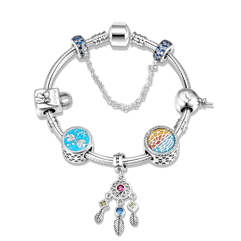 SG 925 sterling argent Trenday Dreamcatcher pendentif océan charme bracelets bangler pour femmes sterling argent bijoux cadeaux