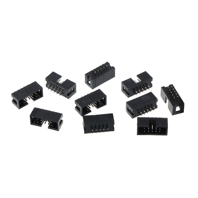 10 Pcs DC3 10 Pin 2x5 Pin Double Row 2.54mm Pitch Straight Pin Male IDC Box Header Connector L15 100pcs idc box header dc3 dc3 6p 2x3 6 pins 6p 2 54mm pitch