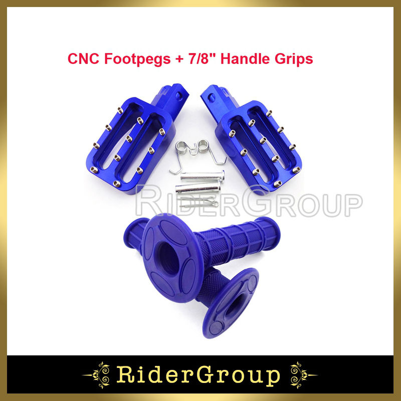 Blue CNC Aluminum Footpegs Foot Rest Pegs Rubber Throttle Handle Grips For Chinese Pit Dirt Bike