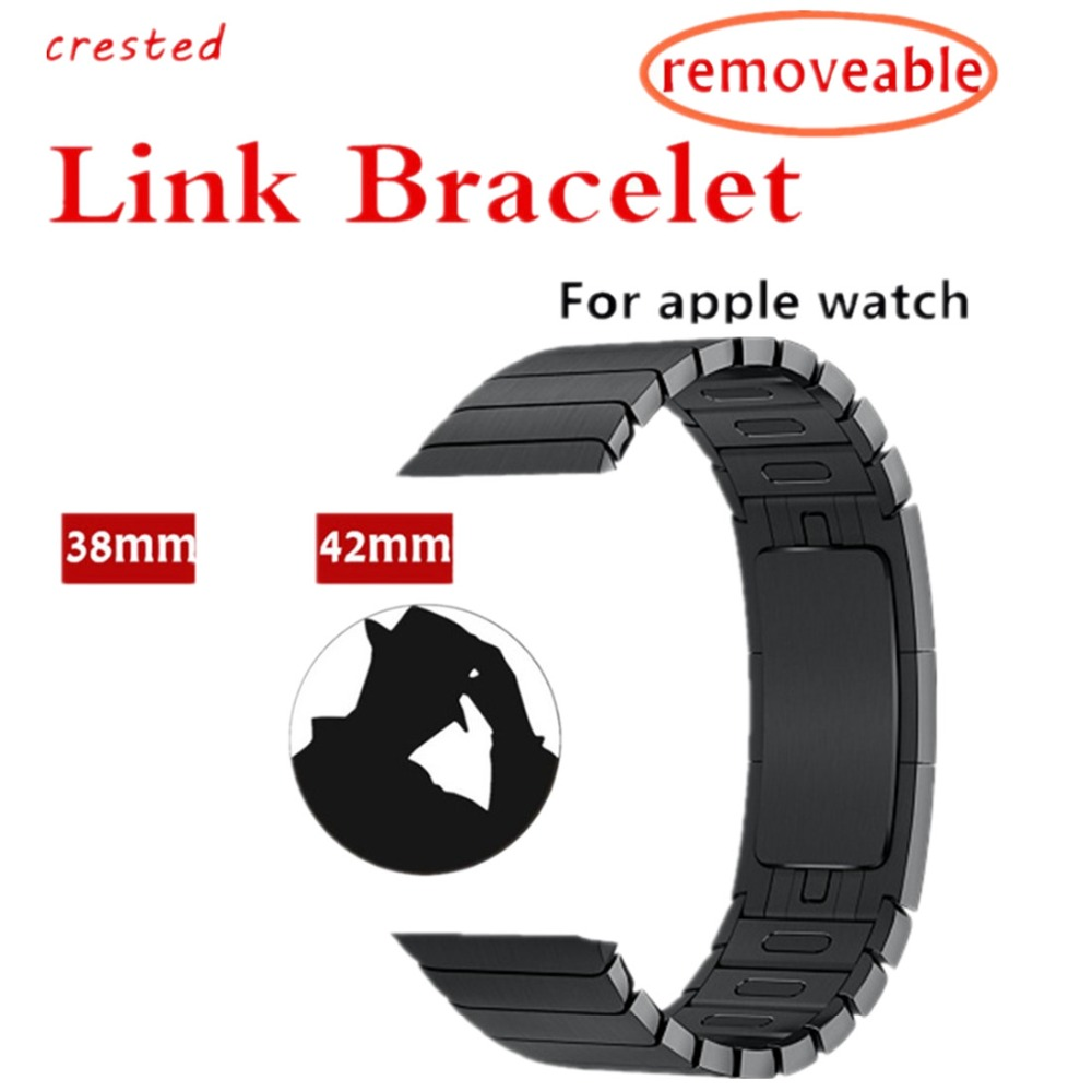 CRESTED link bracelet for apple watch band 42mm 38mm iwatch 3/2/1 wrist band strap 316L Stainless Steel Removable strap belt crested nylon band strap for apple watch band 3 42mm 38mm survival rope wrist bracelet watch strap for apple iwatch 3 2 1 black