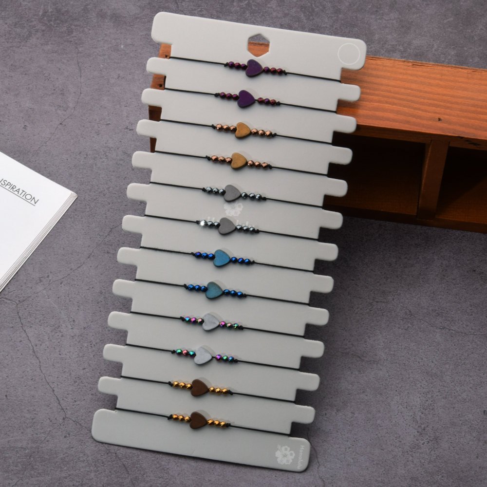 12 Pcs/lot Heart Hematite Stone Adjustable Bracelets Handmade Rope Chain Weave Bracelet Black Beads Wristband Women Men Jewelry