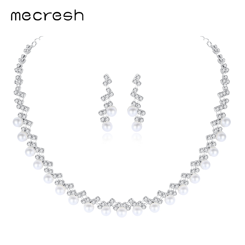 Mecresh 2017 Fashion Jewelry Simulated Pearl Pendant Necklace and Earrings  Set for Women Rhinestone Wedding Jewelry Set TL347 92c29e204912