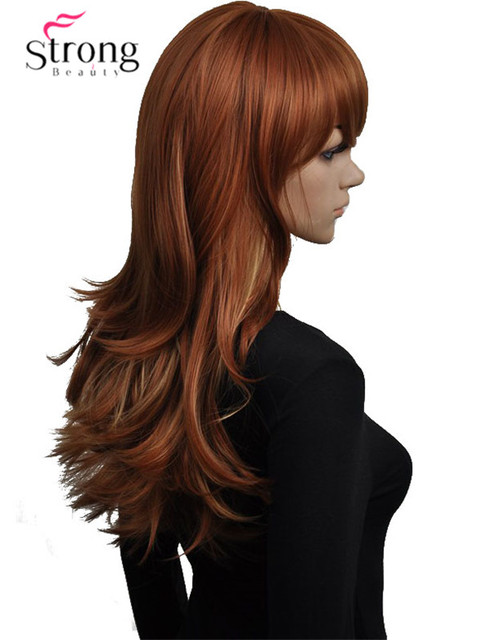 Auburn With Highlights Synthetic Wigs For Women Long Wavy Heat