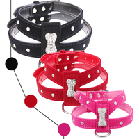 Free Shipping Velvet Leather Pet Puppy Dog Collar Harness Chihuahua Teacup Care Bling Bone S M