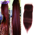 Top Quality Red Color Peruvian Virgin Hair Straight Lace Closure 99j Hair Closure Piece With Straight Hair