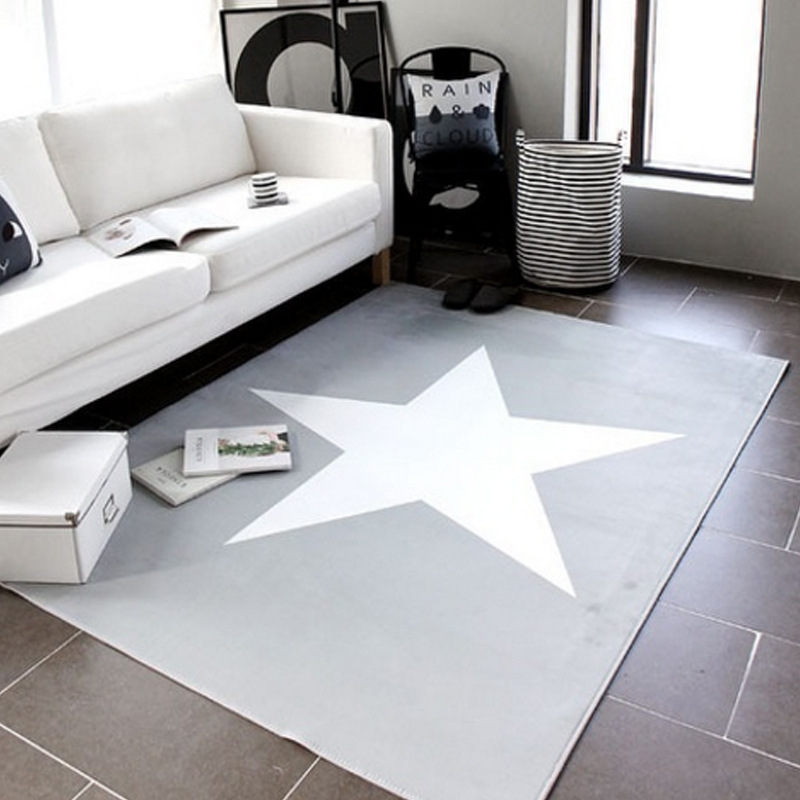 Child/baby Bedroom Crawl Carpets For Living Room Game Tapete Kids Gray Pentagram Print Rug Large Size Rectangle Carpet 150*200cm